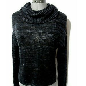 Nwt PINK ROSE Cowl Sweater Top S Black Blue LS